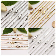 5X Gold/Silver White K Snake Chain Lobster Clasp Necklace Jewelry Finding Making