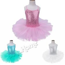 Girls Sequins Ballet Leotard Dress Gymnastics Dance Princess Costume Tutu Skirt