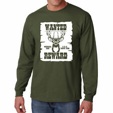 Long Sleeve S Wanted Deer T Shirt Whitetail Hunting Tee Reward Hunter Gift Horns