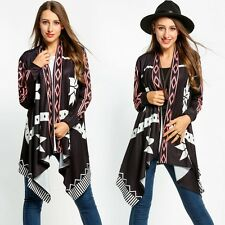 New Women Casual Collarless Long Sleeve Print Loose Fashion Knit Cardigan Tops