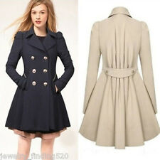 Ladies Winter Double-Breasted Long Trench Overcoat Lapel Slim Jacket Lapel Parka