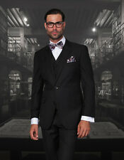 BRAND NEW BLACK MENS 3PC 2 BUTTON SUIT,VESTED & PLEATED PANTS
