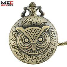 Retro Bronze Animal Owl Antique Pocket Watch Chain Quartz Necklace Pendant Gift