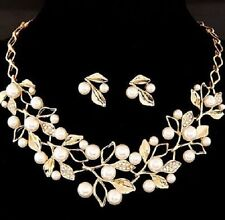 Hot Women Imitation Pearl Crystal Necklace Earring Fashion African Jewelry Set