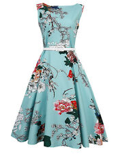 Women 1950s Vintage Retro Peony Floral Rockabilly Pinup Party Tunic Swing Dress