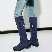 Pull On Womens Ladies Knee High Boots Faux Suede Flats Buckle Leisure Boots Sz