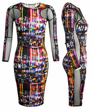 Women Ladies Multi Coloured New York City Print Bodycon Side Mesh Midi Dress