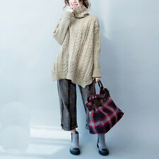 Women Jumper Sweater Turtleneck Batwing Irregular Knitted Pullover Top Oversized