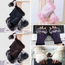 New OK Women's Rabbit Fur Hand Wrist Fingerless Gloves Warm Winter 3 Colors