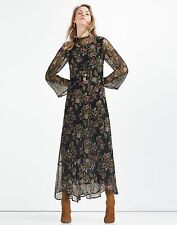 ZARA NEW SS 2016 LONG DRESS WITH FLORAL PRINT SIZES XS S M L Ref. 2903/041
