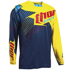 Thor NEW Mx 2016 A1 LE Core Hux Navy Yellow ADult Motocross Dirt Bike Jersey