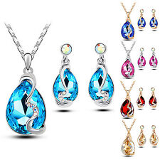 Women Waterdrop Crystal Pendant Inlaid Necklace Earrings Jewelry Set Stunning