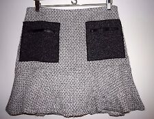 NWT Ann Taylor Womens Winter White Black Silver Tweed Fit Flare Skirt 10 $98