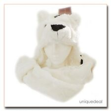 New Animal Winter WHITE * POLAR BEAR * Mascot Fancy Costume Mask Hat Cap Glove.