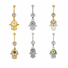 316L Surgical Steel Crystal Evil Eye Hamsa Amulet Dangle Belly Button Navel Ring