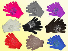 Ladies Mittens Gloves with glitter trim Choose colour one Size NEW