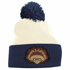 Hedgehog Face Cute Animal Embroidered 2 Tone bobble Beanie Hat Logo Men's