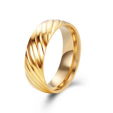 Mens Rings Womens Engraved Twill Stainless Steel Gold Filled Size7/8/9/10/11