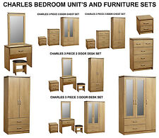 Charles Modern Oak Large 3 Door Mirrored Wardrobe Unit & Bedroom Furniture Sets