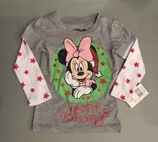 Disney Minnie Mouse Infant Toddler Girls Happy Holidays Christmas Tee Shirt