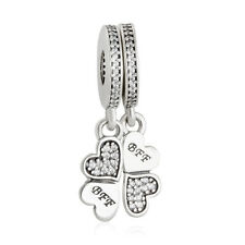 authentic sterling-silver Lucky Clover Forever Pendant Charm Beads For Bracelet