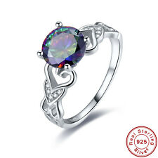 Free Jewelry Box Women Men Rainbow Topaz S925 Sterling Silver Ring Size 6 7 8 9