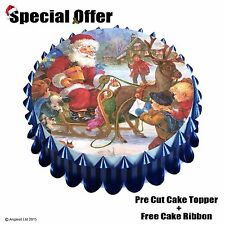 "VINTAGE FATHER CHRISTMAS CAKE SET l/4 : 7"" / 18CM EDIBLE WAFER TOPPER DECORATION"
