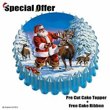 "FATHER CHRISTMAS CAKE SET m/4 : 7"" / 18CM EDIBLE WAFER TOPPER DECORATION"
