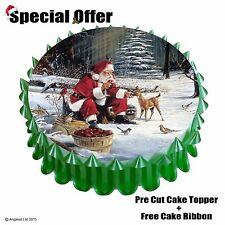 "FATHER CHRISTMAS CAKE SET n/4 : 7"" / 18CM EDIBLE WAFER TOPPER DECORATION"