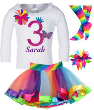 Girls' 3rd Birthday Outfit Butterfly Princess Shirt Rainbow Tutu Add Name