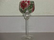 Yankee Candle Stem Crackle Poinsettia Tea Light Votive Holder NWT