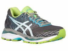 NEW WOMENS ASICS GEL-NIMBUS 18 RUNNING SHOES TRAINERS TITANIUM / WHITE NARROW