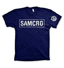 Sons of Anarchy : Logo Samcro - T-Shirt Bleu Marine - NEUF Officiel