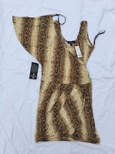 Bebe Dress Addiction Natural Snake One Shoulder Womens New Size L New NWT 174440