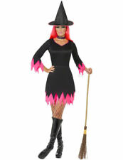 Ladies Black & Pink Witch Witches Spell Halloween Fancy Dress Costume