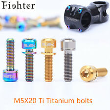 6Pcs Titanium Ti M5x20mm Hex Socket Washer round Head Bolt For Bike bicycle Stem