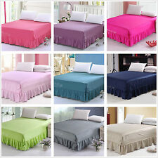 100%Cotton Pleated Valance/Bed Skirt King/Queen Size Bed Fitted Sheets Set New