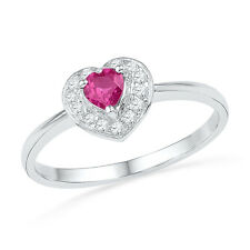 Heart Shape Created Pink Sapphire and Diamond Ring Rhodium on Silver