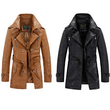 New Men's Winter Trench Coat PU Leather Long Jacket Fleece Overcoat Outwear Tops