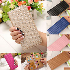 Women Lady Weave Coin Purse Card Holder Long Bifold Wallet Leather Clutch Bags