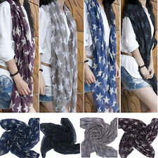 Women Lady Soft Scarves Star Print Long Voile Scarf Shawl Wrap Gifts Superb