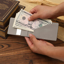 New Chic Leather Silver Money Clip Stainless Steel Money Clip Holder Slim Wallet