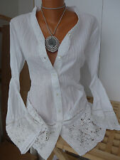 Boysens Tunic Blouse Shirt Size 34 - 52 White with Lace (552) and Pintuck NEW