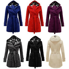 Winter Womens Slim Warm Hooded Double Breasted Trench Coat Long Jacket Outwear