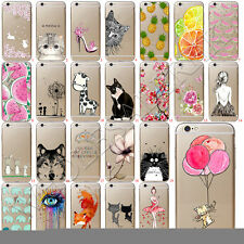 Meow Patterned Clear Soft TPU Silicone Back Case Cover For iPhone 6 6s 7 Plus