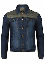 Mens Stylish Casual Denim Camouflage Insert Long Sleeve Coat Jacket Top - Blue