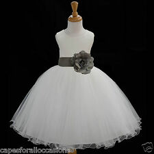 IVORY FLOWER GIRL DRESS KELLY LIME GREEN WATERMELON MERCURY GREY M 2 4 6 8 10 12