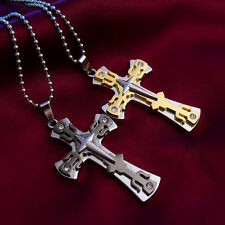 Unisex Gold Silver Stainless Steel Cross Charm Pendant Necklace With Chain Gift