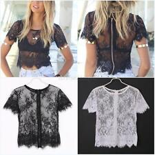 Womens Short Sleeve Elegant Crochet Sexy Lace Crop Top Hollow Out Tank Tops S-XL