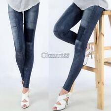 Womens Slim Denim Look Sexy Skinny Leggings Jeans Jeggings Stretch Pants OK